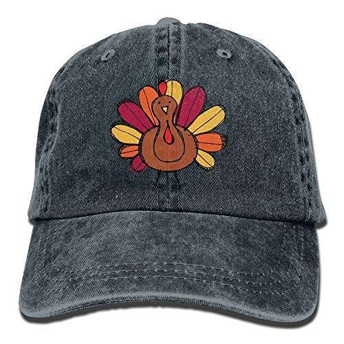 aoliaoyudongyongpin Cute Thanksgiving Turkey Adult Denim Dad Solid Baseball Cap Hat Natural Navy