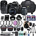 """Canon EOS Rebel T6i 24.2 MP DSLR Camera with Canon EF-S 18-55mm f/3.5-5.6 is STM Lens + Tamron 70-300mm f/4-5.6 Di LD Lens + 2 Memory Cards + 2 Aux Lenses + 50"""" Tripod + Accessories Bundle (24 Items)"""