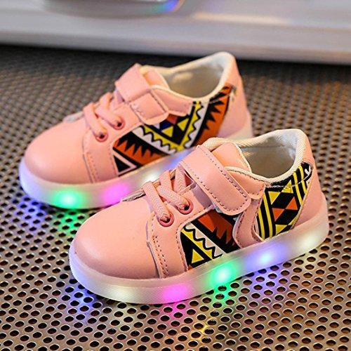 Baby Mode Turnschuhe LED leuchtendes Kind Kleinkind beiläufige bunte helle Schuhe (30, Rosa) Hunpta