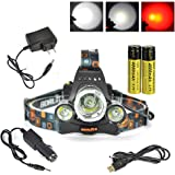 Boruit Headlamp with Red Light - Hunting Red Headlight- Red Blacklight – Rechargeable & 3 Mode- Perfect Night Vision Headlamp for Astronomy , Aviation , Detector – Tactical Headlamp Flashlight