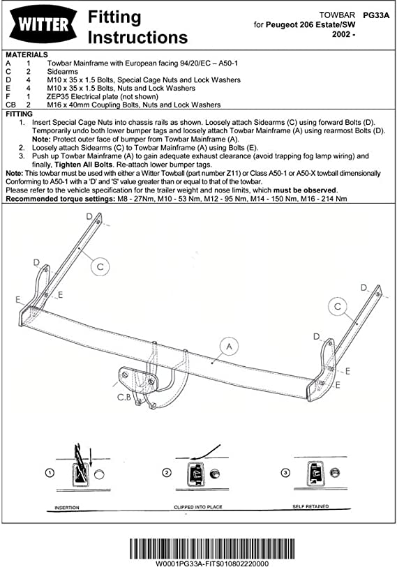 PEUGEOT 206 2002 Estate SW Fixed Swan Neck Towbar with Electric Kit 7Pin