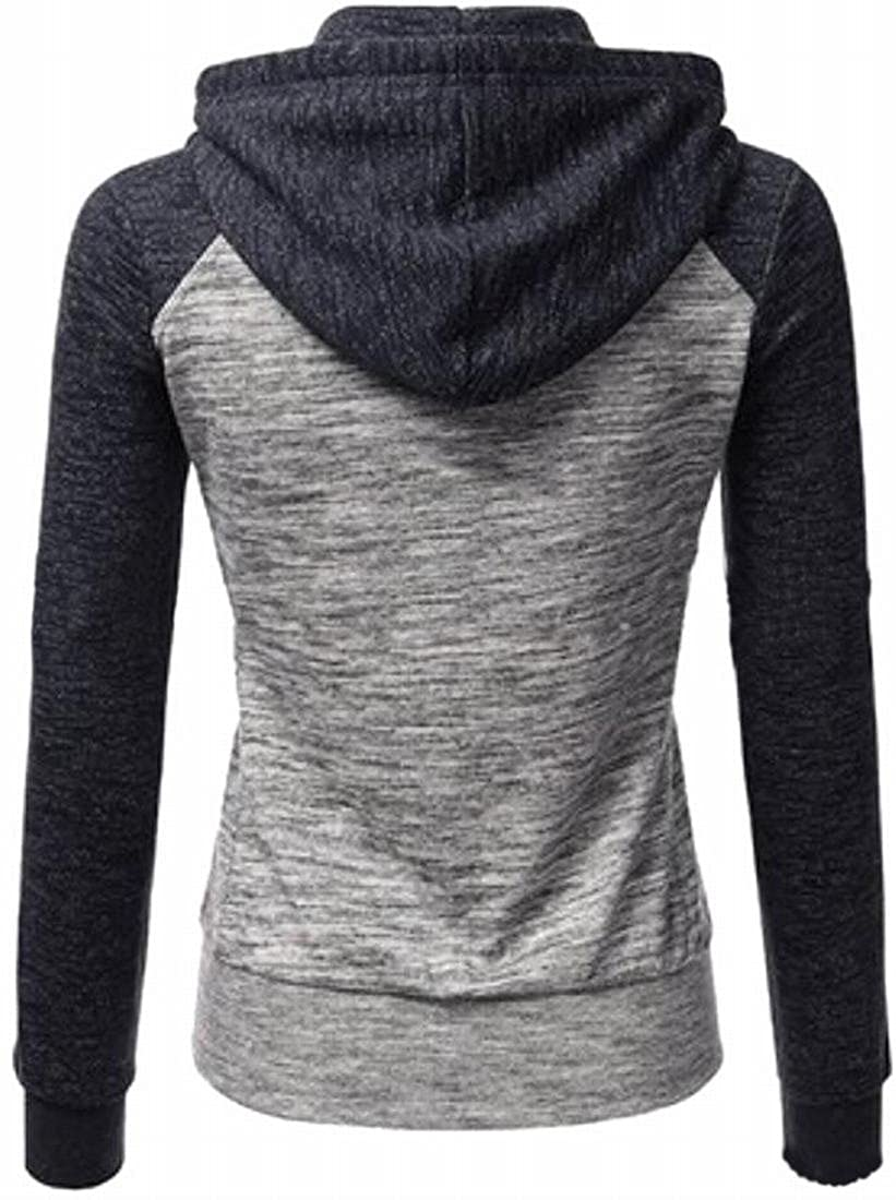 Ptyhk RG Womens Color Block Sport Drawtring Zip-Up Hoodies Comfy Sweashirt