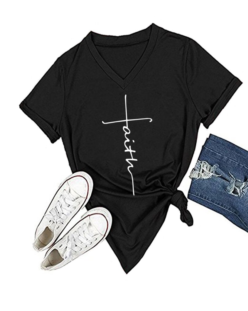 DANVOUY Women's Summer Casual Letters Printed T-Shirt Short Sleeves Graphic V-Neck Tops Black X-Large