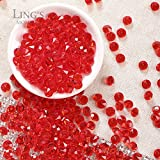 Ling's moment 900 COUNT Red 4 Carat/10mm Sparkle Diamond Table Confetti Decorations for Wedding Centerpieces Bridal Shower Graduations Party Valentines Decorations