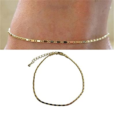 Amazoncom Fashion Women Simple Gold Silver Chain Anklet Ankle