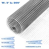 E&K Sunrise 36'' x 200' Hardware Cloth 1/2 inch 19 Gauge Wire Mesh Galvanized for Garden Plant Rabbit Chicken Run Chain Link Fencing Guard Cage - Customize Available