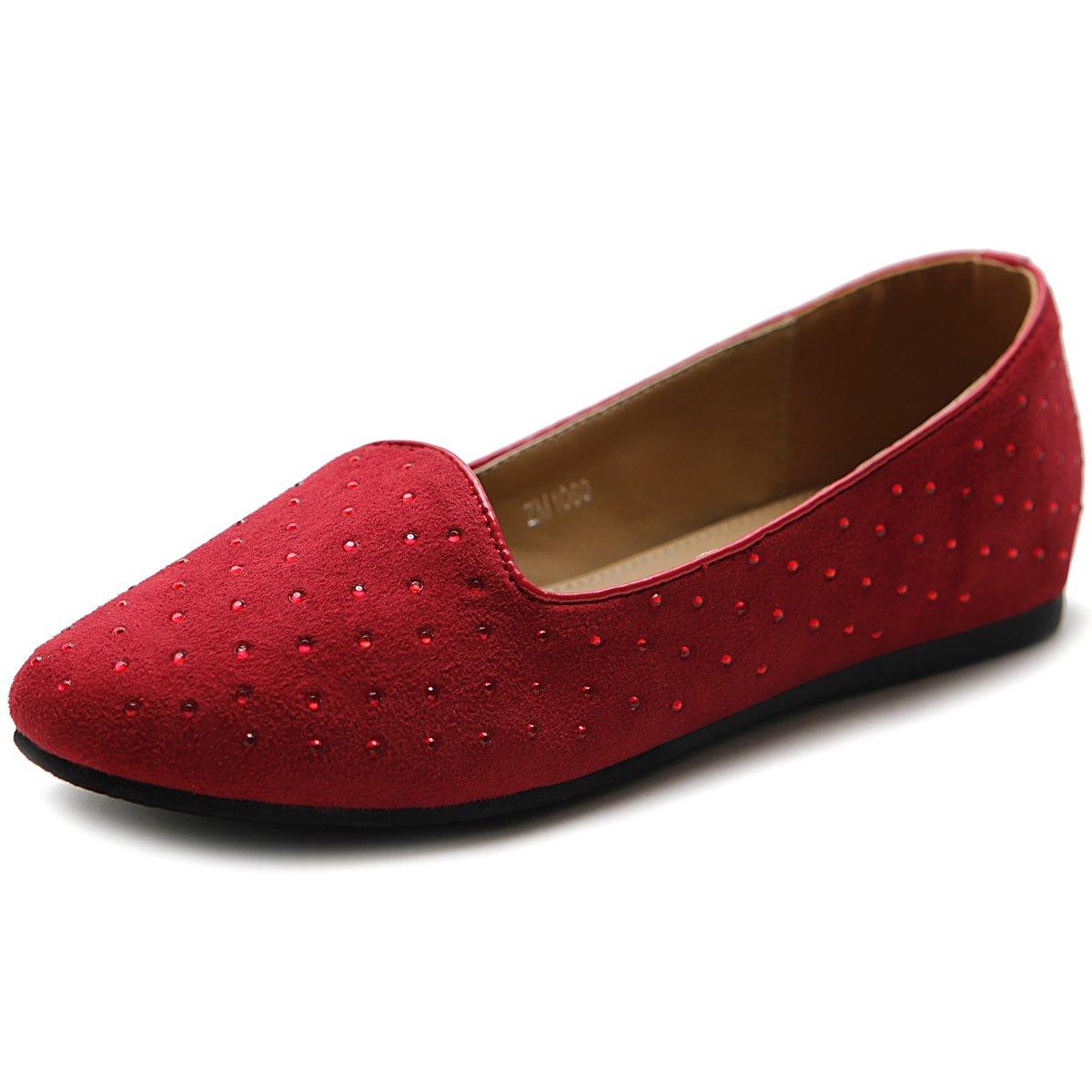Ollio Women's Shoe Ballet Suede Jewel Stud Comfort Flat B00MV4HZJM 8 B(M) US|Red