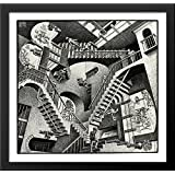 Relativity 30x28 Large Black Wood Framed Print Art by M.C. Escher