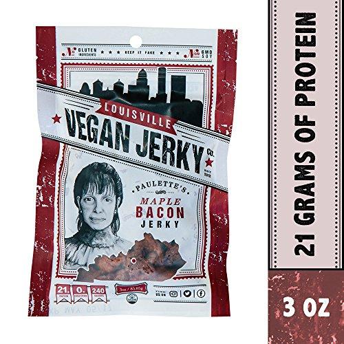 Louisville Vegan Jerky - Maple Bacon, Vegetarian & Vegan Friendly Jerky, 21 Grams of Non-GMO Soy Protein, Gluten-Free Ingredients (3 -