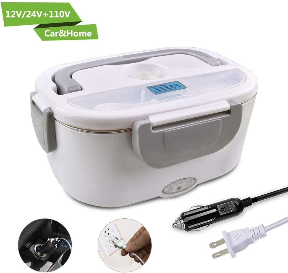 Electric Lunch Box,COROTC 12V 24V & 110V 2 in 1  for Car/Truck and Work Heat Lunch Box- 304 Stainless Steel Portable Food Warmer Heater-Spoon and 2 Compartments Included, Gray
