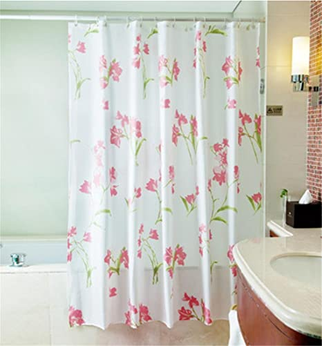 GYMNLJY Pink Black Flowers Polyester Shower Curtain Waterproof Thick Bath Shade For Cut