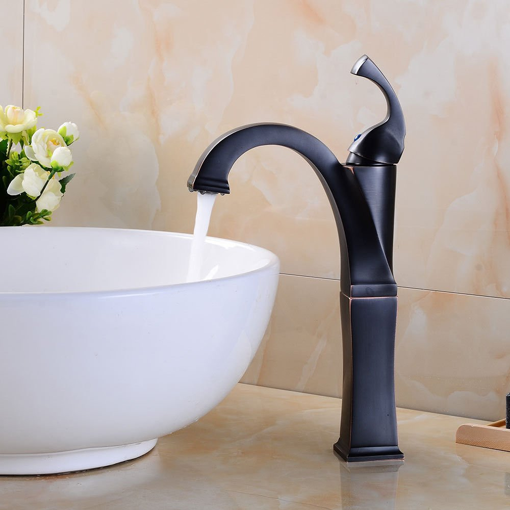 Lpophy Bathroom Sink Mixer Taps Faucet Bath Waterfall Cold and Hot Water Tap for Washroom Bathroom and Kitchen Single Hole Single Handle Black Hot and Cold Copper