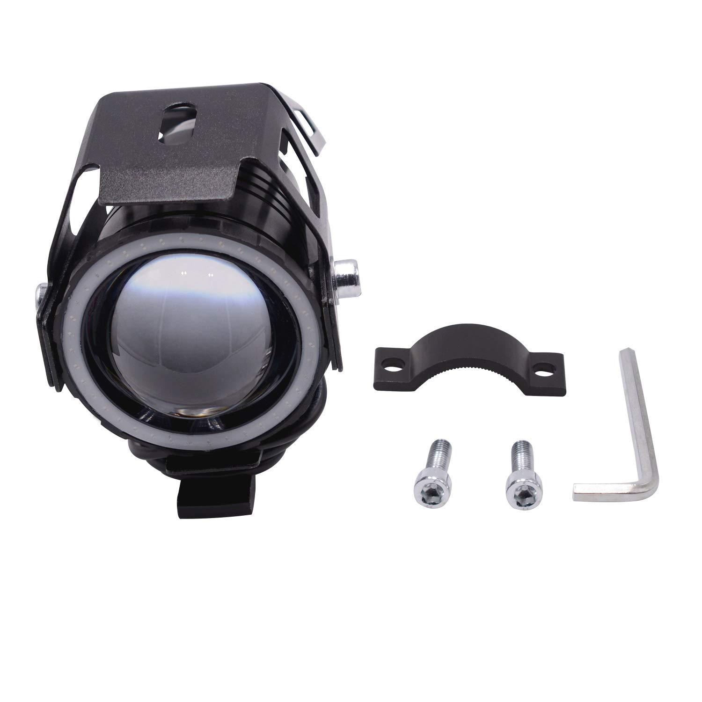 Motorcycle Headlight LED Driving Running Light Fog Lamp with Angel Eyes Lights Ring Front Spotlight Color : Blue-2pcs LED Headlamp for Motorbike