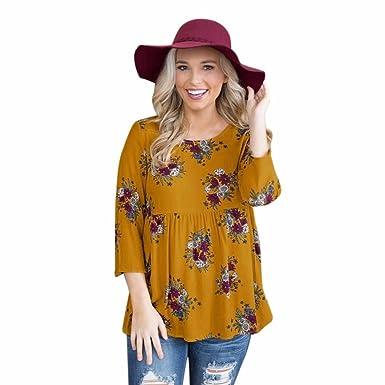 Boho Damen Blumen Langarm Blusen Longshirt Freizeit Oberteil Hemdshirt Übergröße
