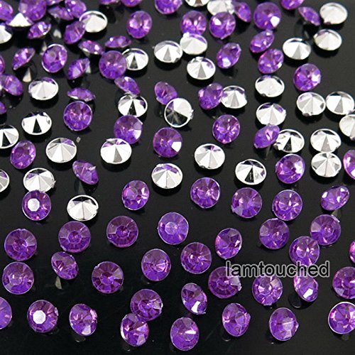WALLER PAA 2000pcs 4.5mm Wedding Decoration Crystals Diamond Table Confetti Party Supplies (Silver Purple)