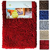 Enthusiast Gear Puppy Paws Plush Mat - Super Absorbent Microfiber Chenille Non-Slip Dog Doormat - 20'' x 30'' Tan - Special Introductory Price!