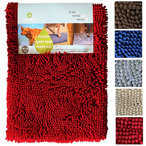 Enthusiast Gear Puppy Paws Plush Mat - Super Absorbent Microfiber Chenille Non-Slip Dog Doormat - 20'' x 30'' Tan - Special Introductory Price! by Enthusiast Gear