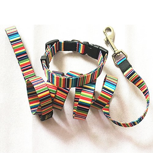 Joopet Pet Collars Classic Rainbow Basic Nylon Dog Collar Made for Puppy Pet, Matching Leash & Collars Set Available