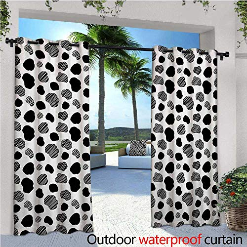 homehot Cow Print Exterior/Outside Curtains Black and White Striped Dots with Abstract Style Farm Animal Hide Agriculture for Patio Light Block Heat Out Water Proof Drape W120 x L84 Black White