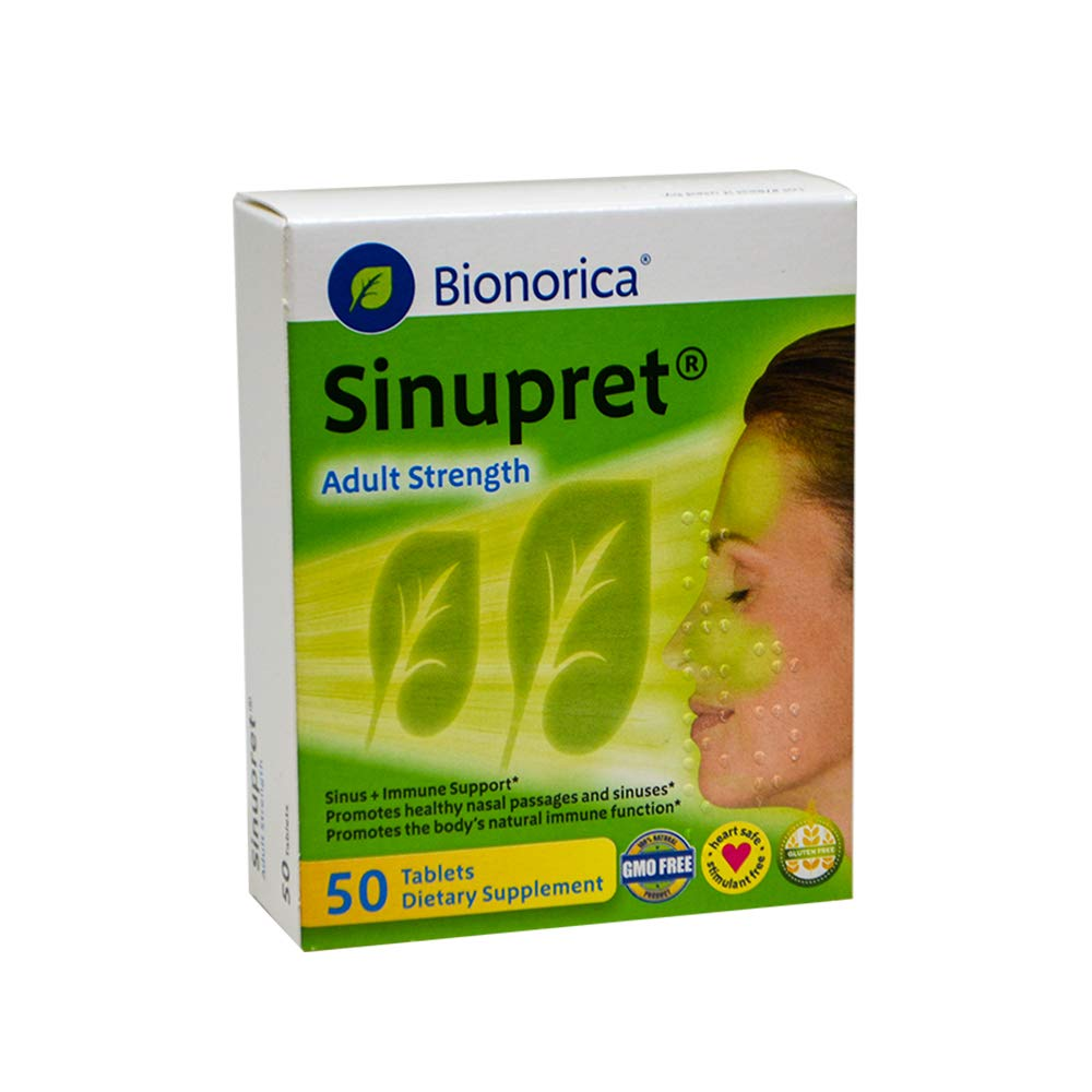 Sinupret Adult Strength Sinus + Immune Support All Natural, Fast Acting Herbal Nasal Passage & Immunity Boost Supplement with Verbena & Elder Flower - 50 Tablets