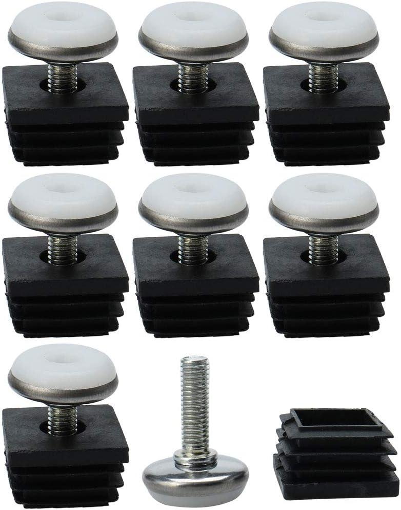 uxcell Adjustable Feet 25 x 25mm Square Tube Inserts Kit Furniture Glide Adjustable Leveler for Table Desk Leg 8 Pcs