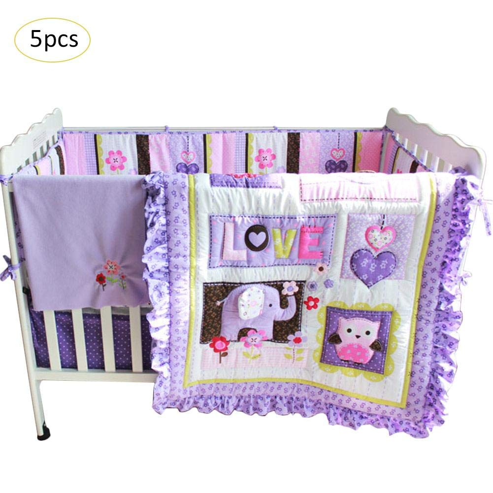 TODAYTOP 5-Piece Purple Owl and Elephant Nursery Bedding Set Crib Bedding Set Baby Bedding Set for Boy and Girl