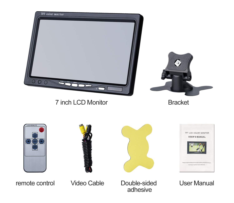 Four-pin /— DVKNM TZ101 Upgrade Backup Camera Monitor Kit,1024X600 HD,IP69 Waterproof Rearview Reversing Rear View Camera 7/'/' LCD Reversing Monitor Truck//Semi-Trailer//Box Truck//RV /— HD Transmission