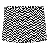 Home Collection by Raghu 0D790011 Black & White Chevron Regular Clip Drum Lampshade, 10''
