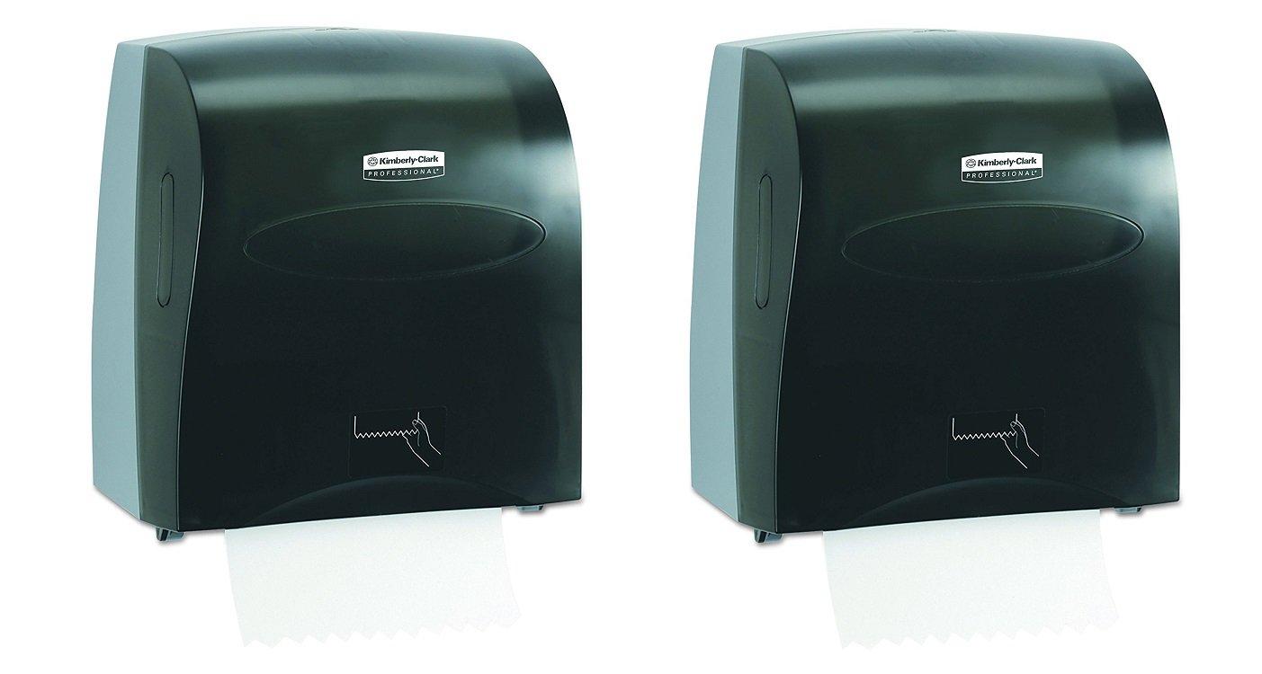 Scott Slimroll Hard Roll Paper Towel Dispenser, Touchless, Pull Towel (10441), Smoke / Black (Pack of 2)