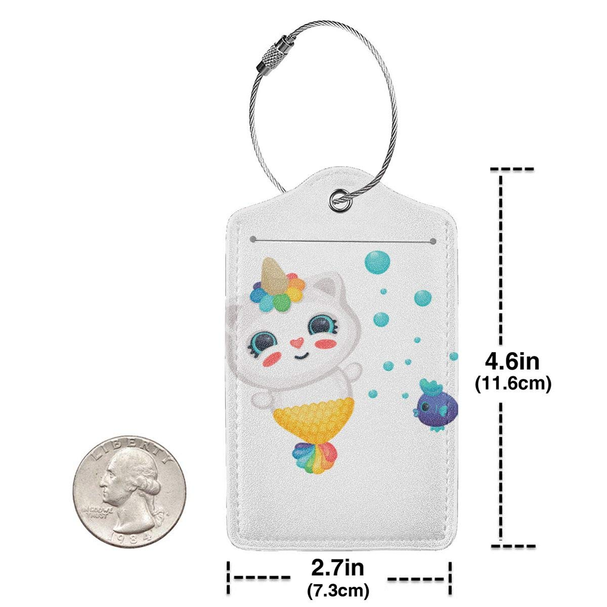 Lucaeat Cat With Unicorn Horn Luggage Tag PU Leather Bag Tag Travel Suitcases ID