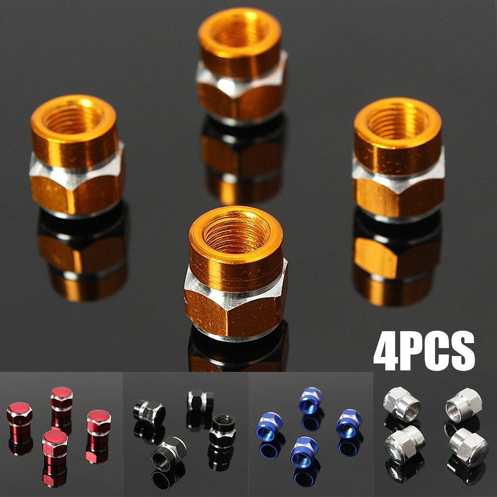 4 tapones antipolvo de aluminio para v/álvulas de neum/áticos de coches bicicletas motos camiones