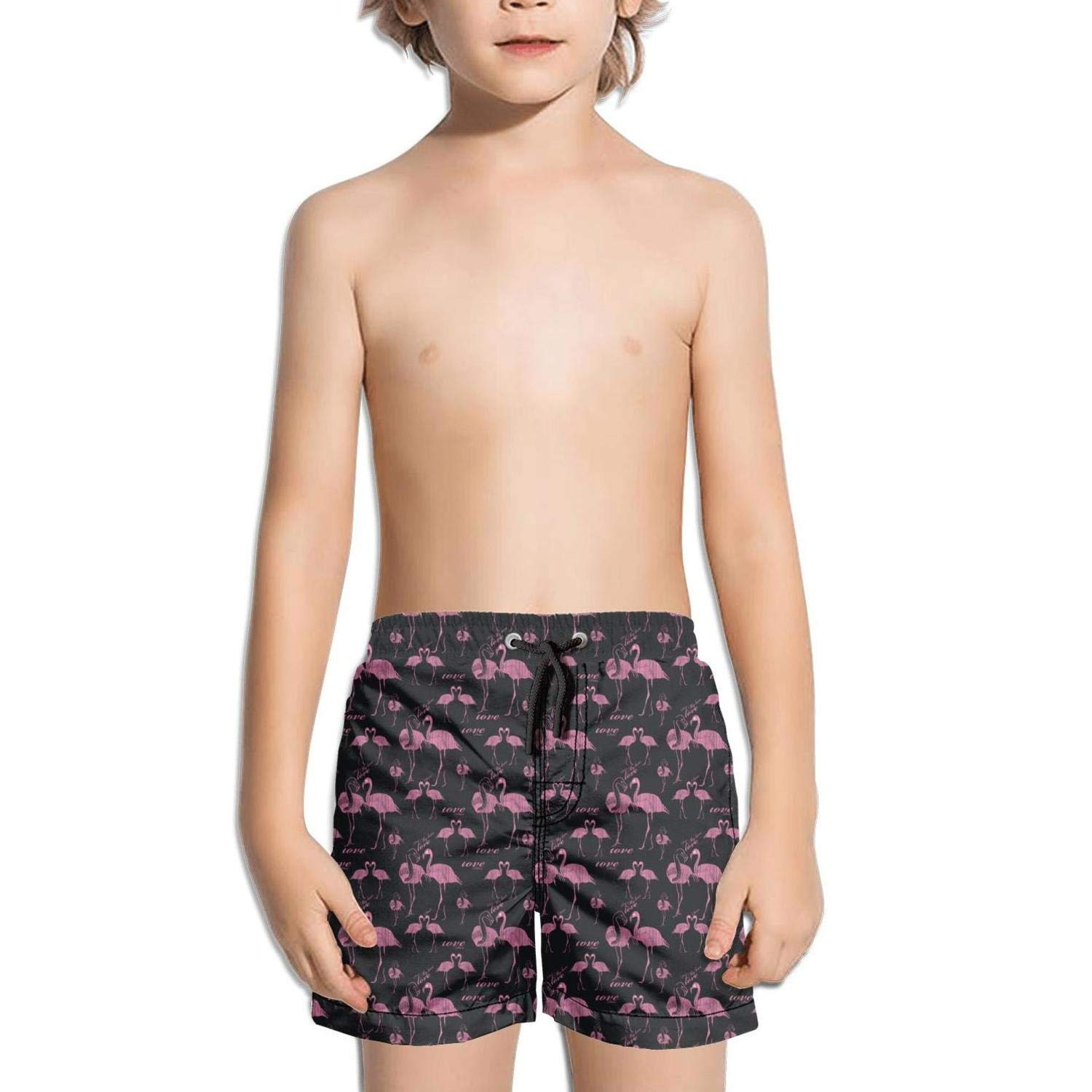 Ina Fers.Quick Dry Swim Trunks Pink Flamingo in Love Black Shorts Boys