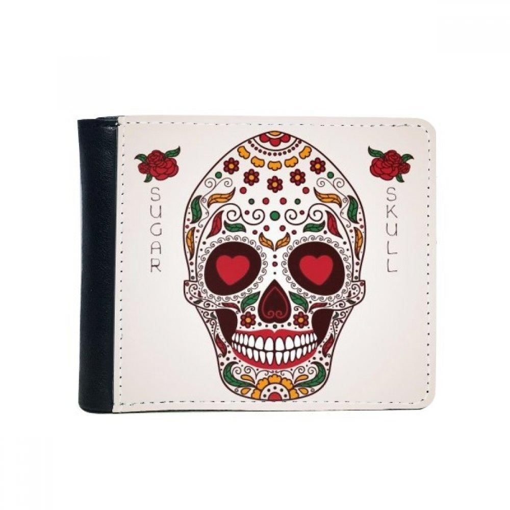 花Cirrus heart-shape EyesホワイトシュガースカルMexico文化フリップ二つ折りフェイクレザー財布多機能カード財布ギフト B072565SGL