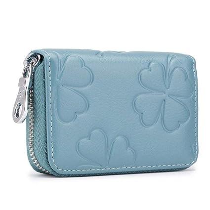 DcSpring RFID Cartera Tarjeteros Mini Mujer Cuero Genuino Monedero Pequeñas Piel Genuino Portatarjetas con Cremallera (Azul)