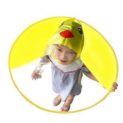 EXIU niños Adultos Plegable Impermeable, Manos Creativas Gratis Paraguas, Sombreros de Capa Impermeable de