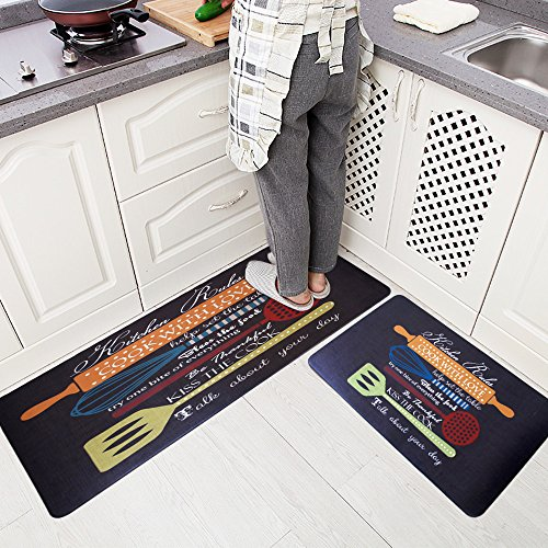 USTIDE 2 Pieces Set Smooth Rubber Non-slip Kitchen Rug Runner Brown Vegetable Waterproof and Oil Proof Area Rug and Carpet Doormat