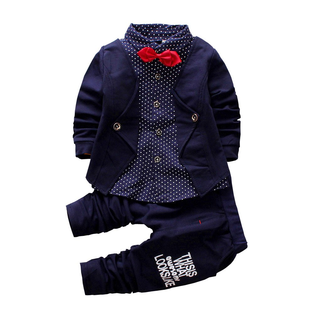 2pcs Baby Boy Dress Clothes Toddler Outfits Infant Tuxedo Formal Suits Set Shirt + Pants(Navy, 24M