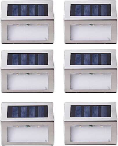 Solar Stair Lamp JLTPH Pack of 6 Outdoor Stainless Steel Solar Powered LED Step Light, Illuminates Stairs Deck Walkway Patio Garden and Landscaping, Warm White