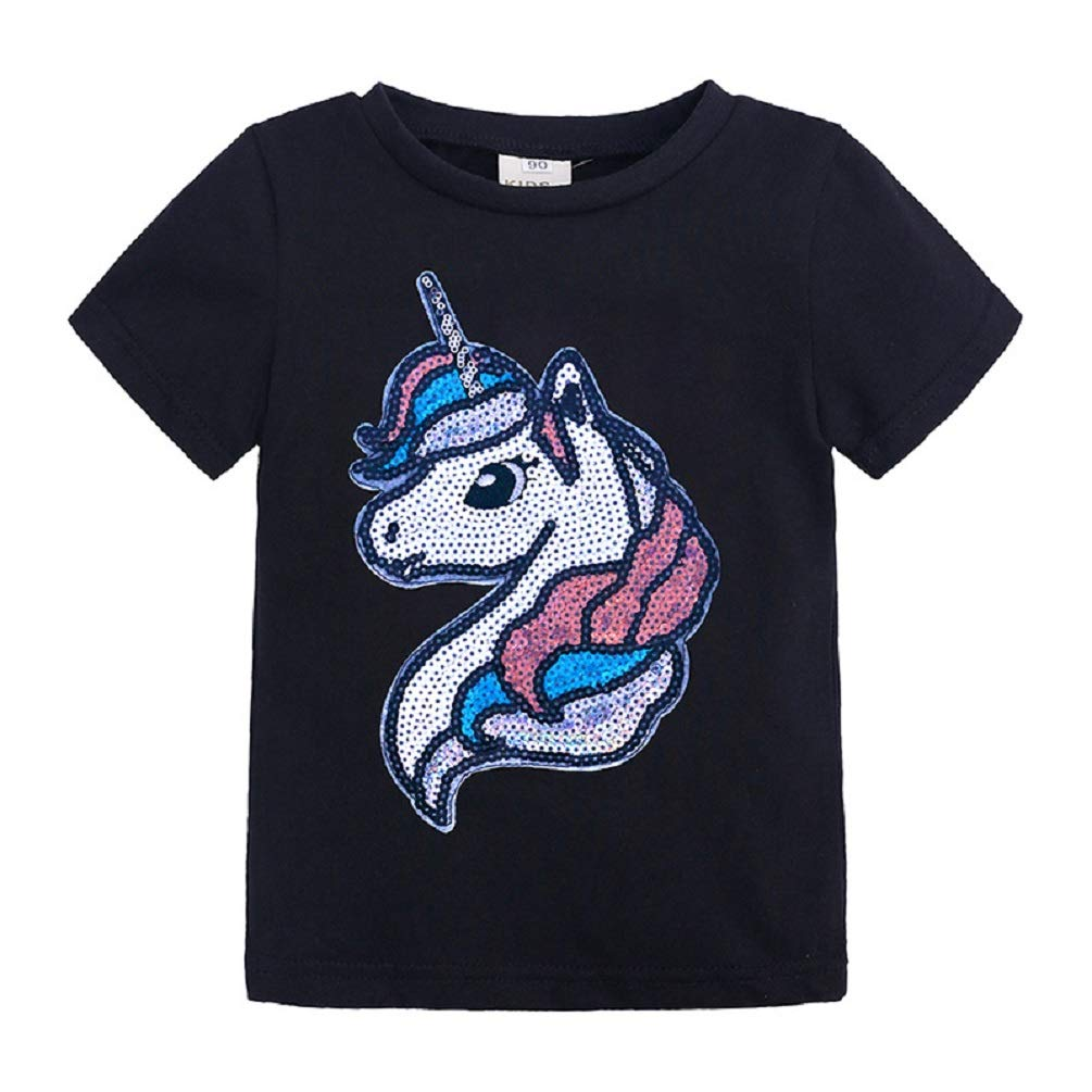 AMMENGBEI Children Kids Sequin Unicorn T-Shirt Cotton Pullover Tops Magic Sequin Tees Boys Girls 1-8 T