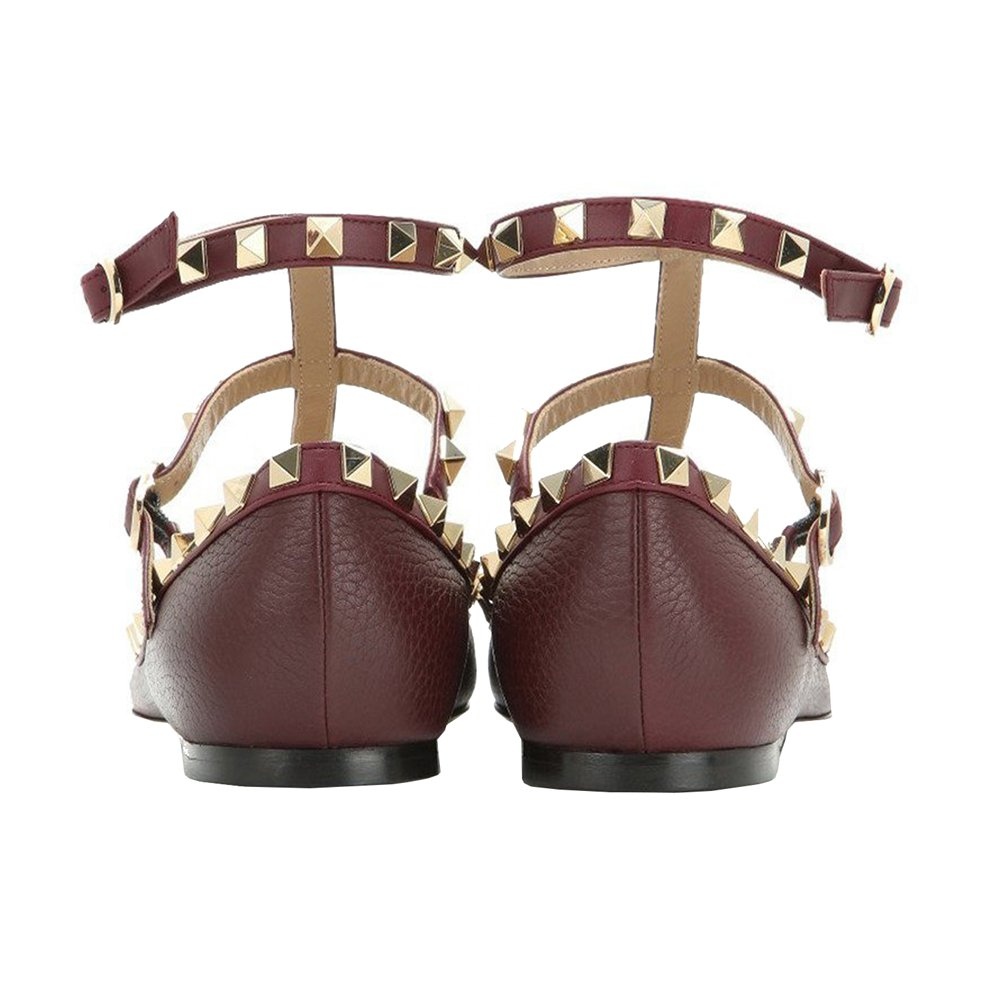 VOCOSI Women's Ankle Strap Studded Pointed Toe Pumps Rivets T-Strap 13 Flat Pumps Dress B0794V9FHP 13 T-Strap B(M) US Burgundy(pattern With Black Rivets) 2da9ff