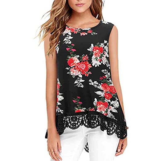 fbe268a5e90934 vermers Womens Floral Print Sleeveless Lace Patchwork Tank Tops Casual  Loose O-Neck Tunics Vest