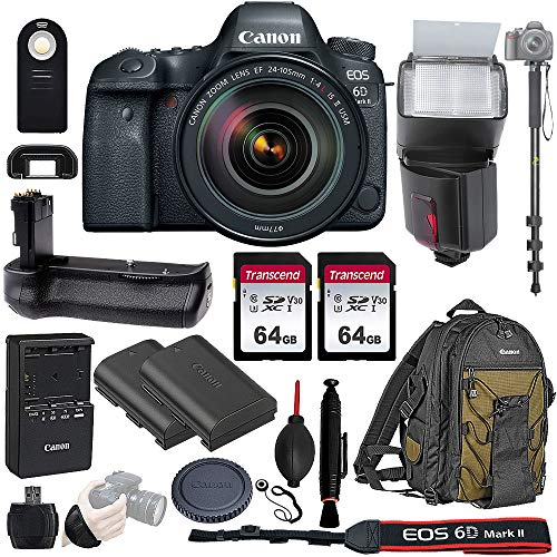 Canon EOS 6D Mark II Wi-Fi DSLR Camera Body with EF 24-105mmF3.5-5.6 IS STM Lens – Pro Battery Grip, TTL Flash, Canon Pro Backpack, 128GB Memory, LP-E6N Replacement Battery, 72″ Monopod, RC-6 Wireless