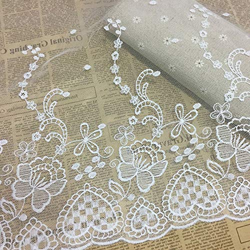 1Yd Vintage Floral Embroidery Scalloped Lace Sewing Trim Fabric Bridal Applique (Color - #25-35cm White 217#)