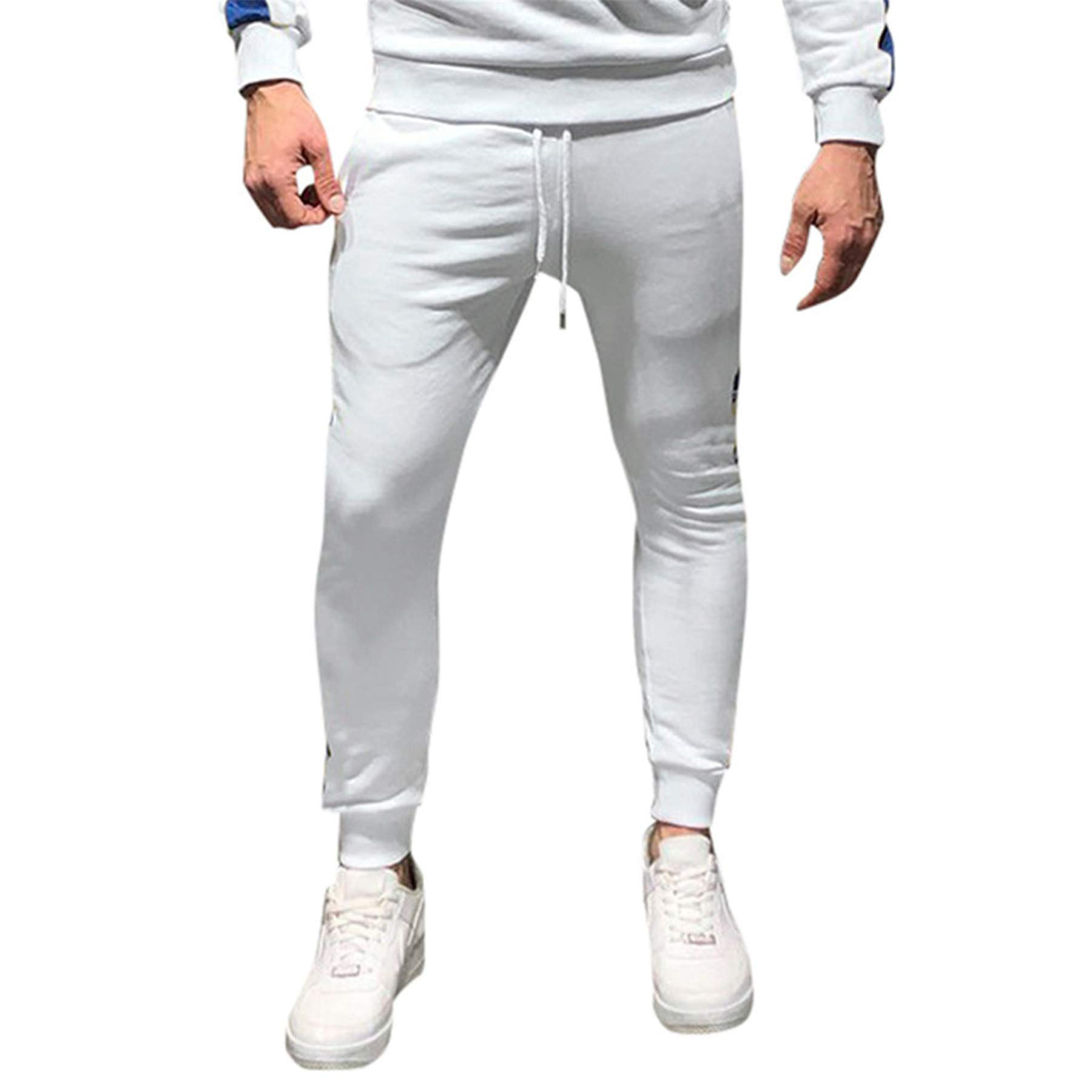 Mens Athletic 2 Piece Tracksuit Set Hip Hop Solid Color Side Taping Jogging Athletic Suit (L, White #B) by FRC0LT