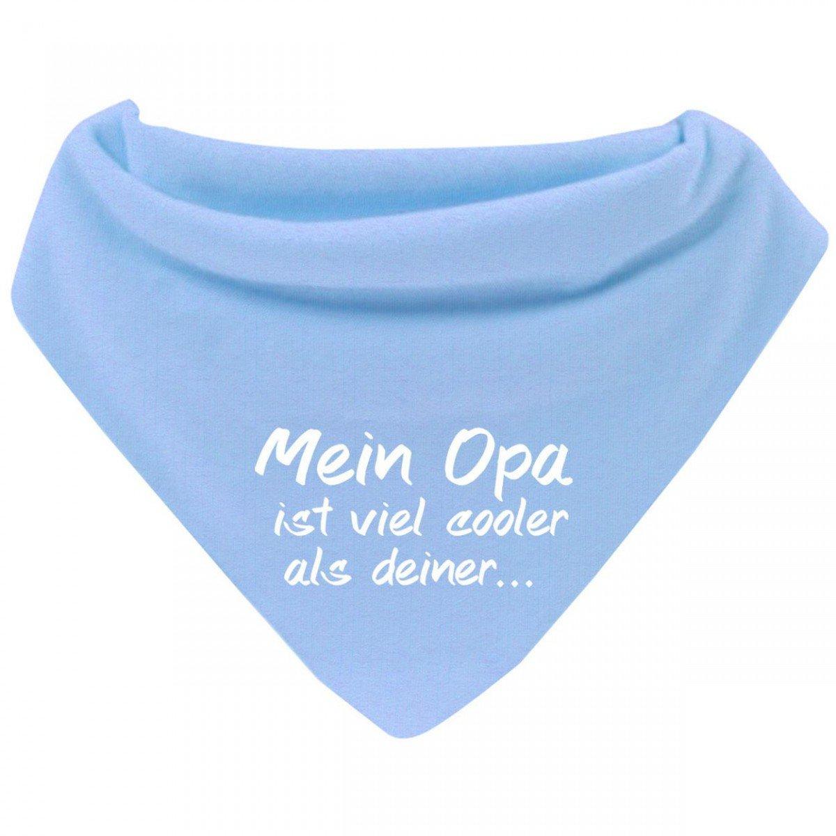 Mikalino Baby Halstuch Bandana Mein Opa ist viel cooler als deiner mit Klettverschluss Farbe:navy