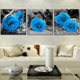 New 5D DIY Blue Roses Diamond Painting 3 Pieces Painted with Diamonds Embroidered Full Drill Diamond Cross-Stitch Kits triptych Rhinestone Embroidery Craft Living Room Wall Decor