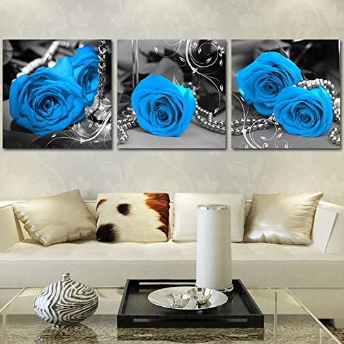 New 5D DIY Blue Roses Diamond Painting 3 Pieces Painted with Diamonds Embroidered Full Drill Diamond Cross-Stitch Kits triptych Rhinestone Embroidery Craft Living Room Wall Decor by Poeni