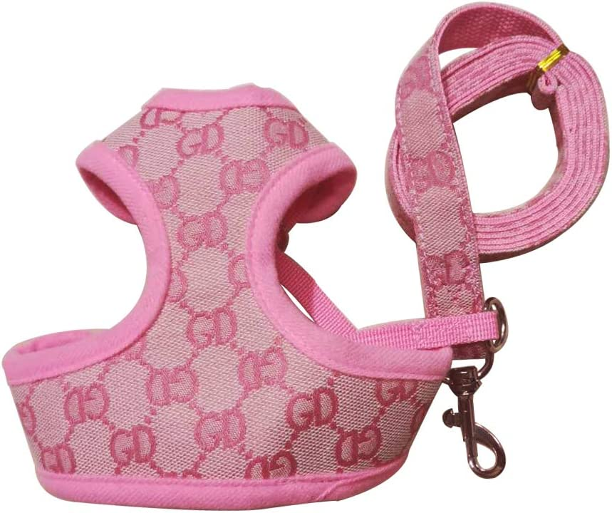 DD Dog Harness and Lead Adjustable Soft Mesh Vest Harness Leash Set for Puppies Dogs XS, Pink