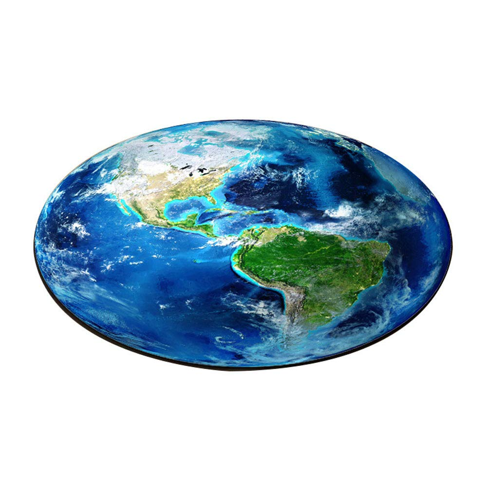 3D Earth Round Carpet Amazing Blue World Map Soggiorno Mats Bambini Bambini Boy Bedroom Decoration, 60Cm [Classe di efficienza energetica A] Lovedecor