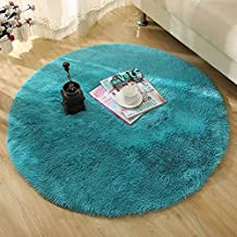 mixinni Round Area Rugs for Kids Room Carpets Children Play Super Soft Living Room Bedroom Home Shaggy Carpet (Blue,0.8X0.8M)